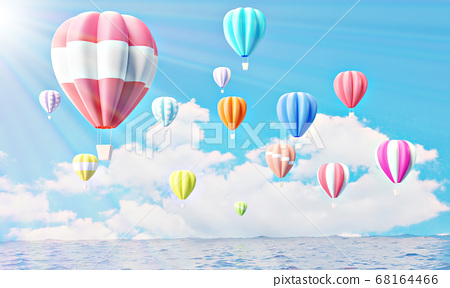 Colorful hot air balloons rising above serene the ocean  68164466