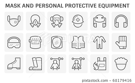 Mask and safety equipment or personal protective 68179416