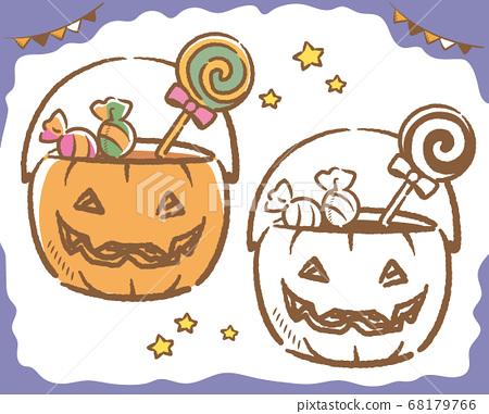 萬聖節的插圖材料,傑克-o-燈籠型籃子,糖果。向量例證 68179766