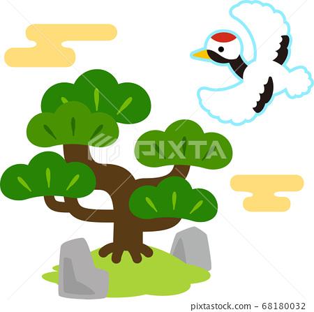 松樹和飛鶴的可愛插圖 68180032