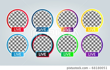 set of various Social media facebook, instagram, youtube, tiktok, twitter, live streaming badge icon for profile photo or avatar	 68180051