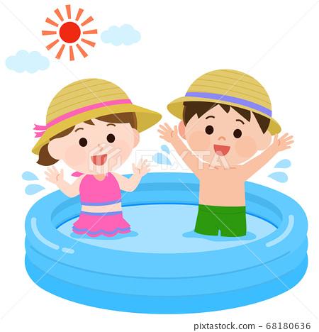 一個女孩和一個男孩在乙烯基池中玩的插圖 68180636