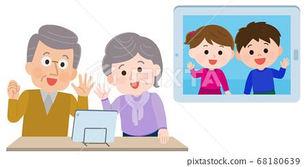 온라인 귀성 태블릿에서 TV 전화 조부모와 손자 일러스트 68180639