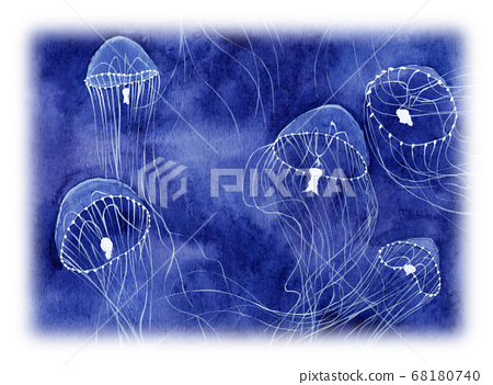 Illustration of a gearman jellyfish painted in watercolor 68180740