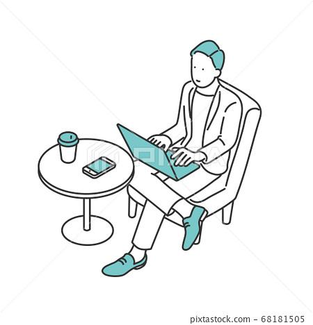 男人在咖啡廳空間做移動工作的插圖素材 68181505