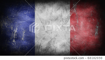 Flag of France with grunge texture background 3D illustration 68182030