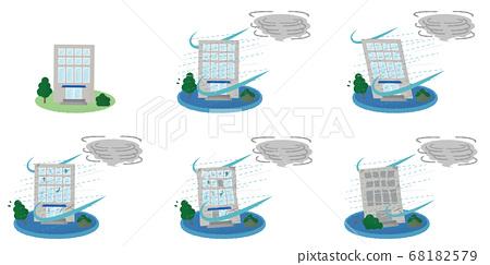 矢量圖集的建築物遭受颱風破壞 68182579