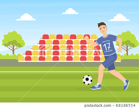 Teenage Boy Kicking a Soccer Ball, Guy Doing Physical Activity Outdoors Vector Illustration 68186554