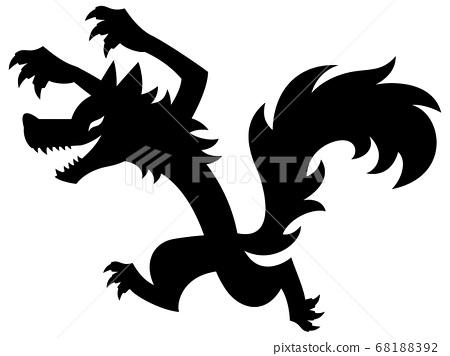 狼攻擊的剪影插圖 68188392