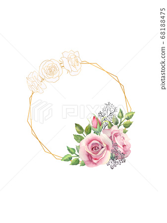 Pink rose flowers, green leaves, berries in a gold geometric frame. Wedding concept with flowers. Watercolor compositions for the decoration of greeting cards or invitations 68188475