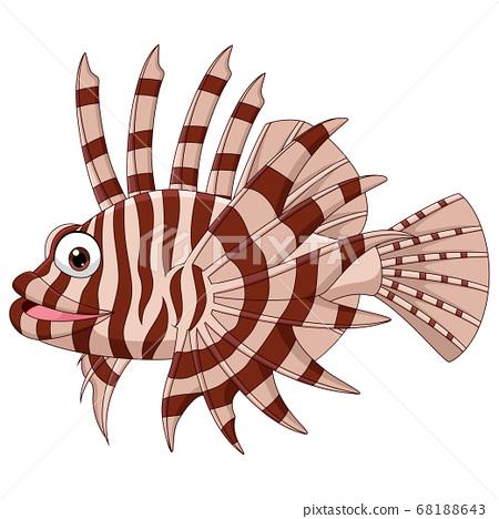 Cartoon scorpion fish isolated on white background 68188643