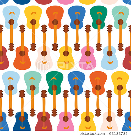Guitars seamless vector pattern. Repeating background with music colorful instruments. Cute 68188785