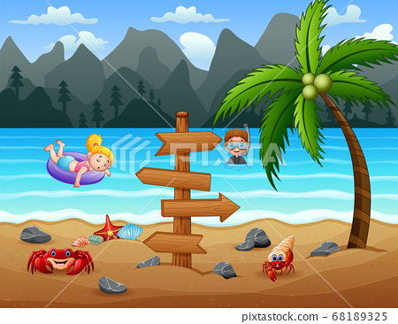 Happy kids having fun at the beach 68189325
