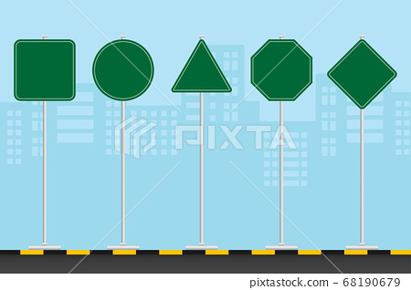 Set of signs road is located along the road amidst the vast capital city. Green traffic signs. 68190679