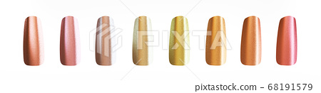 pastel colored shiny and glossy fake finger nails. Cosmetic and beauty concept. 3d illustration 68191579