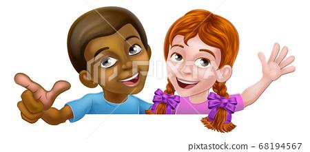 Girl and Boy Cartoon Children Kids Sign 68194567