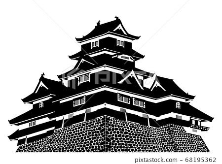 松本城城堡塔剪影 68195362