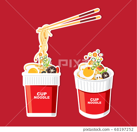 Instant noodle in cup, packaging, Vector 68197252