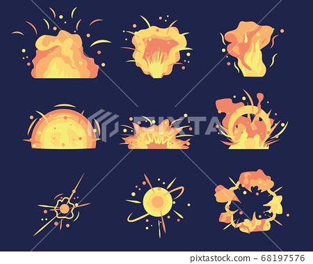 Cartoon bomb explosion. 68197576