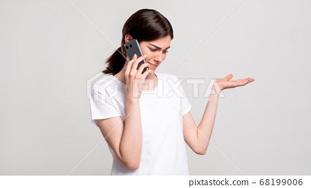 disturbed woman portrait phone call weird offer 68199006