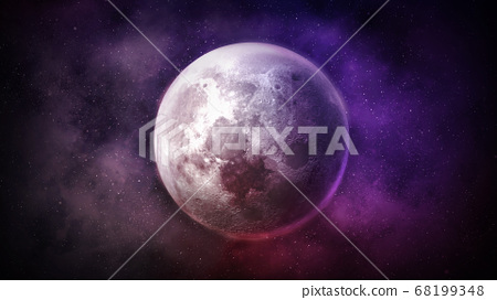 Fantastic view of the moon in starry sky. 68199348