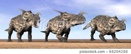 Einiosaurus dinosaurs in the desert - 3D render 68204288