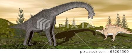 Brachiosaurus and stegosaurus dinosaurs- 3D render 68204300