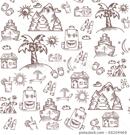 Seamless line and stroke pattern on a white background. Tourism, nature, vacation and travel to the mountains and the island with palm trees and a sunbed. All for vacation stuff and a suitcase with a 68204469