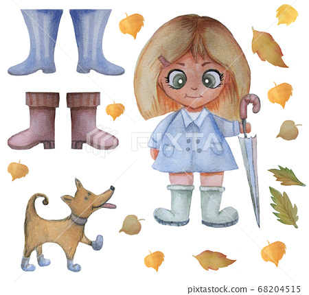 Watercolor kids cute illustration. A girl stands with an umbrella next to a funny dog. Autumn set of yellow leaves and rubber boots. Isolated on white background. 68204515
