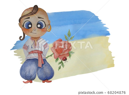 kids watercolor illustrations. A cute Ukrainian boy with an earring in his ear and National clothes, vyshyvanka with a rose against the background of the yellow-blue flag. Watercolor stain for text 68204876