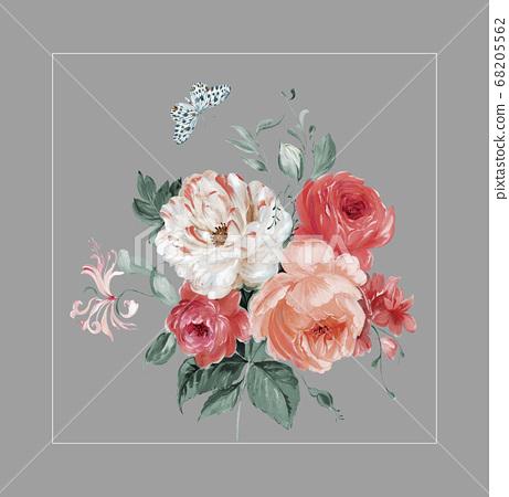 色彩豐富的花卉素材組合和設計元素 68205562