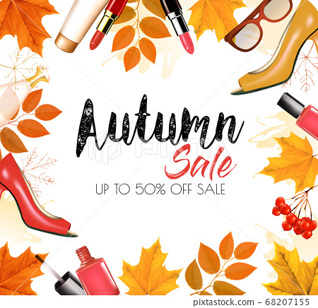 Enjoy Autumn Sale background with autumn leaves 68207155