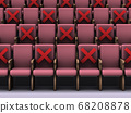 Seat image of a concert hall with limited number of visitors. 3D rendering. 68208878