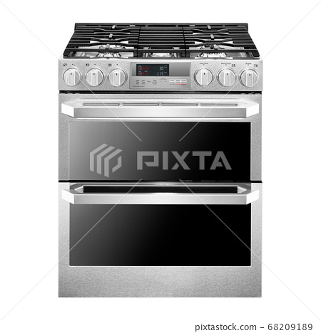 Slide-In Dual Fuel Range Isolated on White Background. Gas Range Cooker with Warming Drawer and Six-Burner Cooktop. Front View of Stainless Steel Gas Stove. Six Burner Gas Hob 68209189
