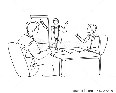 Single continuous line drawing of young happy business coach presenting lesson to class members 68209719