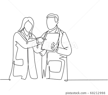 Single continuous line drawing of young male and female doctor discussing about health topic article on tablet 68212998