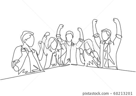 One single line drawing of young happy business man and business woman celebrating their success achieve the business target 68213201