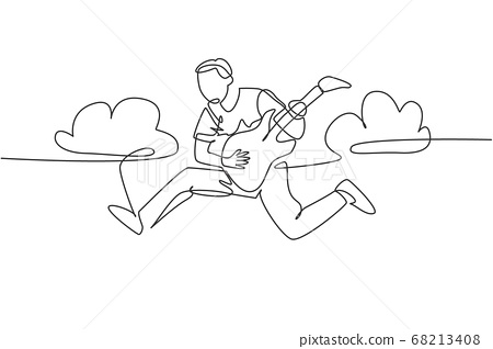 Single line drawing of young energetic guitarist jumping at stage and playing his electric guitar 68213408