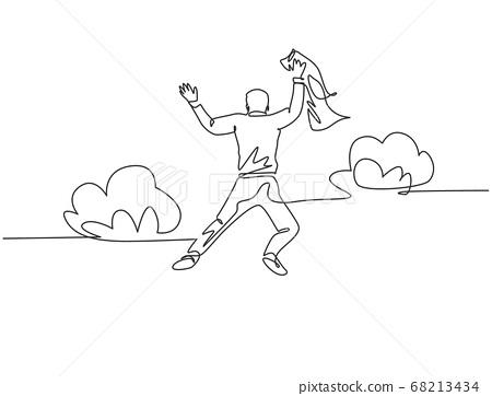 One line drawing of young happy and energetic business man stretch out his hands into the air and jumping over the cloud 68213434