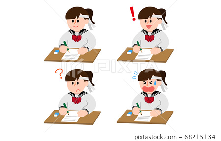 시험을 하치마키 세라복 여학생 세트 (심플 컬러) 68215134