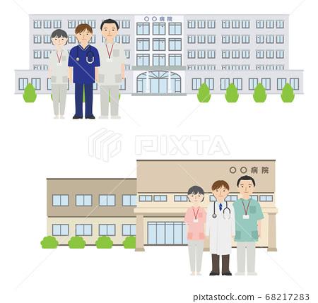 병원 앞에있는 젊은 남성 의사와 간호사들 68217283