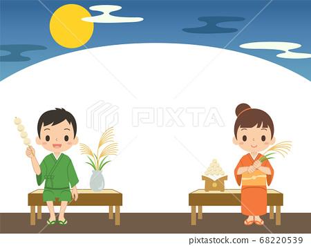 一個男孩和一個女孩的插圖框架框架向量,有一個麵包和日本蒲葦,晚上看月亮 68220539