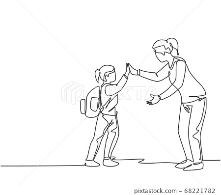 One line drawing of female teacher meet one of her student at school and giving high five gesture 68221782