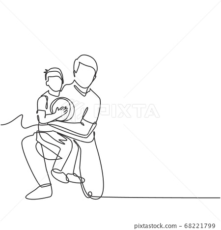Single line drawing of young happy father hugging her child that carried a basket ball on basketball court 68221799