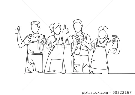 One line drawing of groups of group male and female janitor giving thumbs up gesture 68222167