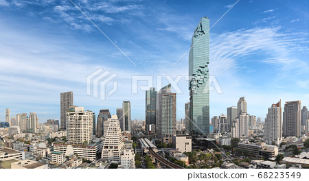Bangkok city building cityscape, hight view panorama on Sathorn Road center of business downtown 68223549