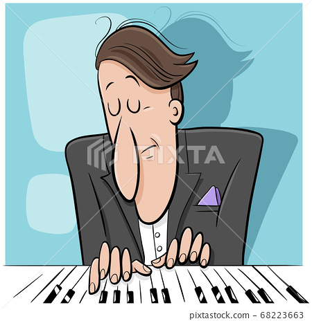 pianist playing the piano cartoon illustration 68223663