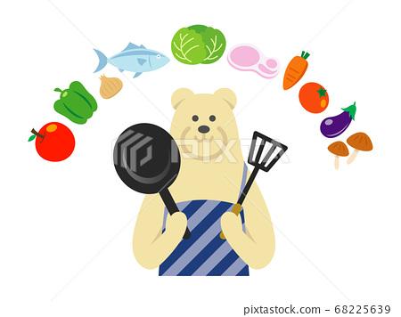 북극곰 주부의 요리 일러스트 68225639