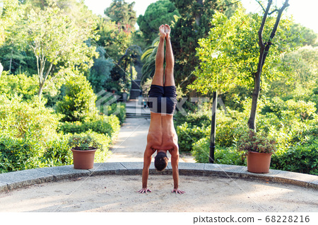Fitness man exercising handstand in the park. Street workout 68228216