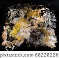 Gold acriliyc paint texture splash abstract image. 68228226